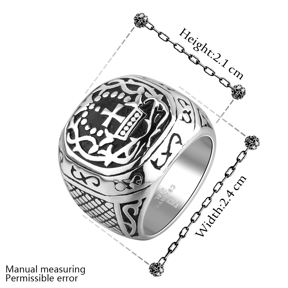 Fashion Retro Men S Cross Rings Stainless Steel Mysterious Rune Patterns Square Wedding Bands Old School Punk Hiphop Gift In From Jewelry