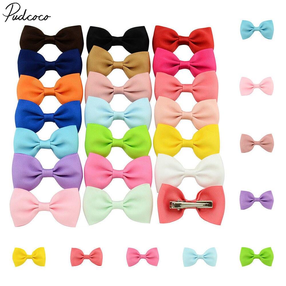 20X Bow Hair Clips Ribbon Printing Dot Headwear for  Kids  Hair Accessories