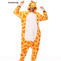 New Giraffe Stitch Flannel Winter Anime Cosplay Pajamas Onesie Hooded Unicorn Party Wear Long Sleeve Halloween