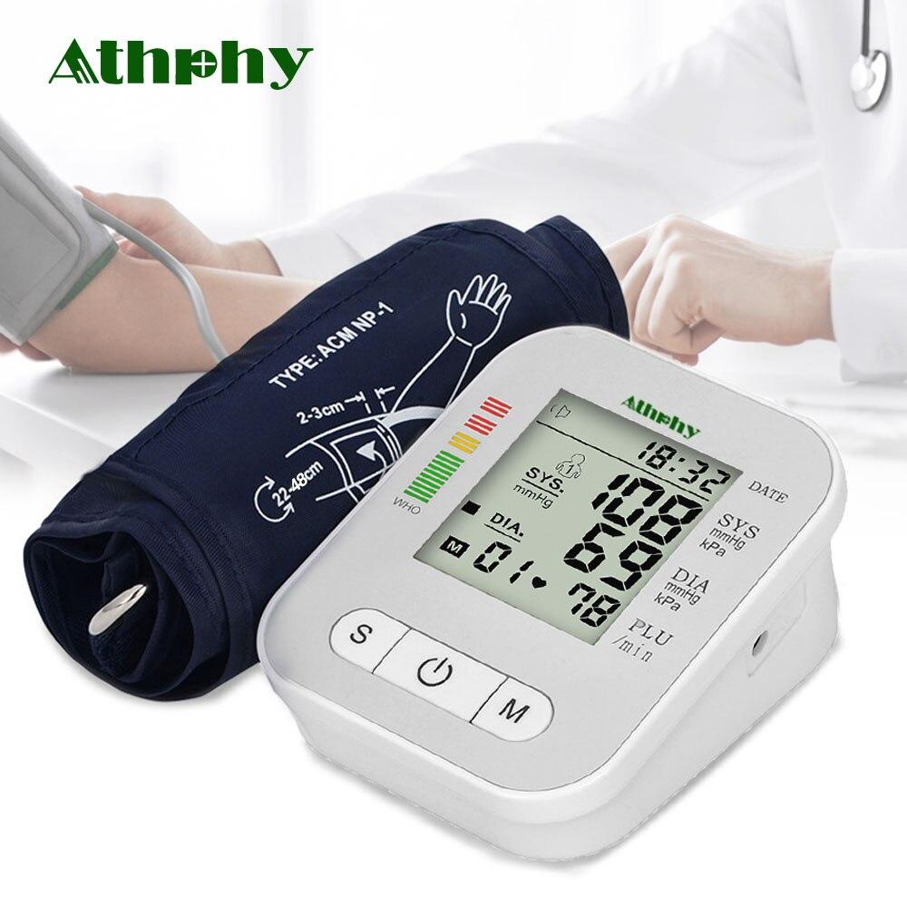 Athphy Blutdruck Monitor Voll-automatische Puls Messung Herzschlag Test Neue Oberen Arm Messen Blutdruckmessgerät Tonometer