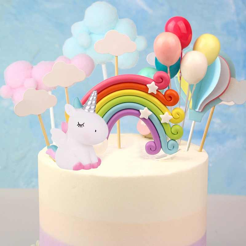 Rainbow Unicorn Cake Topper Cloud Cake Flags Birthday Kids Favors Cake Decoration Cupcake Topper for Wedding Dessert Table Decor