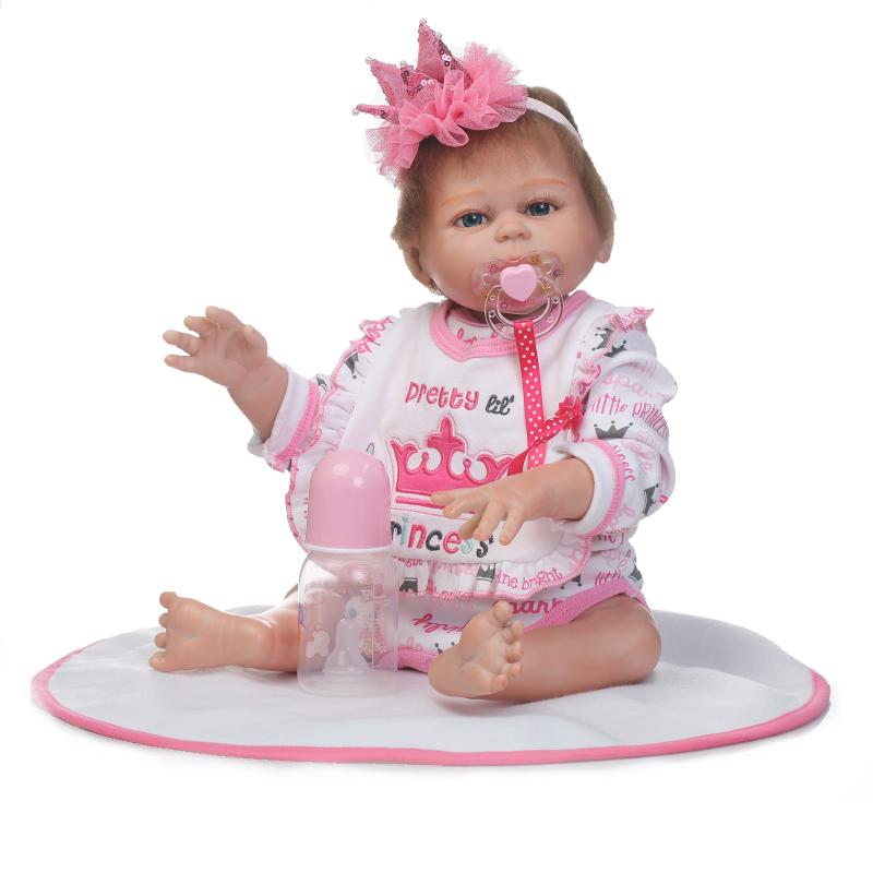50cm Full Silicone Body Reborn Princess Babies Doll Toys Newborn Baby Doll Lovely Kids Birthday Gift Bathe Toy Girls Brinquedos 2016 cotton body reborn babies lifelike princess girls doll toy rooted mohair gift for baby reborn poupon brinquedos new year