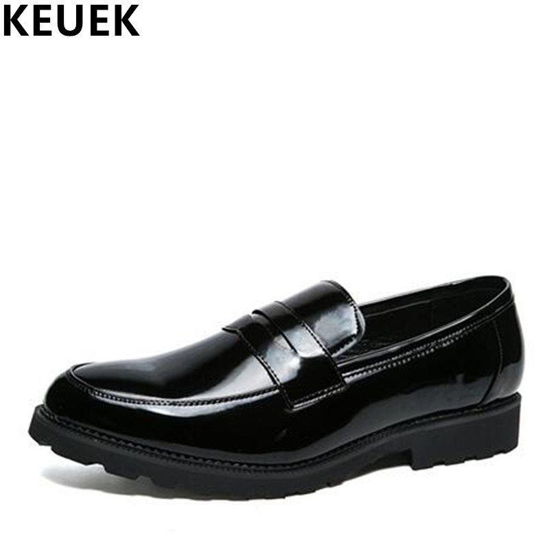 Large size Men Pointed toe leather shoes Slip On Fashion Male flats Youth popular shoes Black Loafers Oxfords 3A pjcmg spring autumn men s genuine leather pointed toe slip on flats dress oxfords business office wedding for men flats shoes