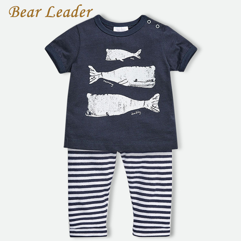 Bear Leader 2016 Summer Style Infant Clothes Baby Clothing Sets Three small fish model Cotton Short Sleeve 2pcs Baby Boy Clothes