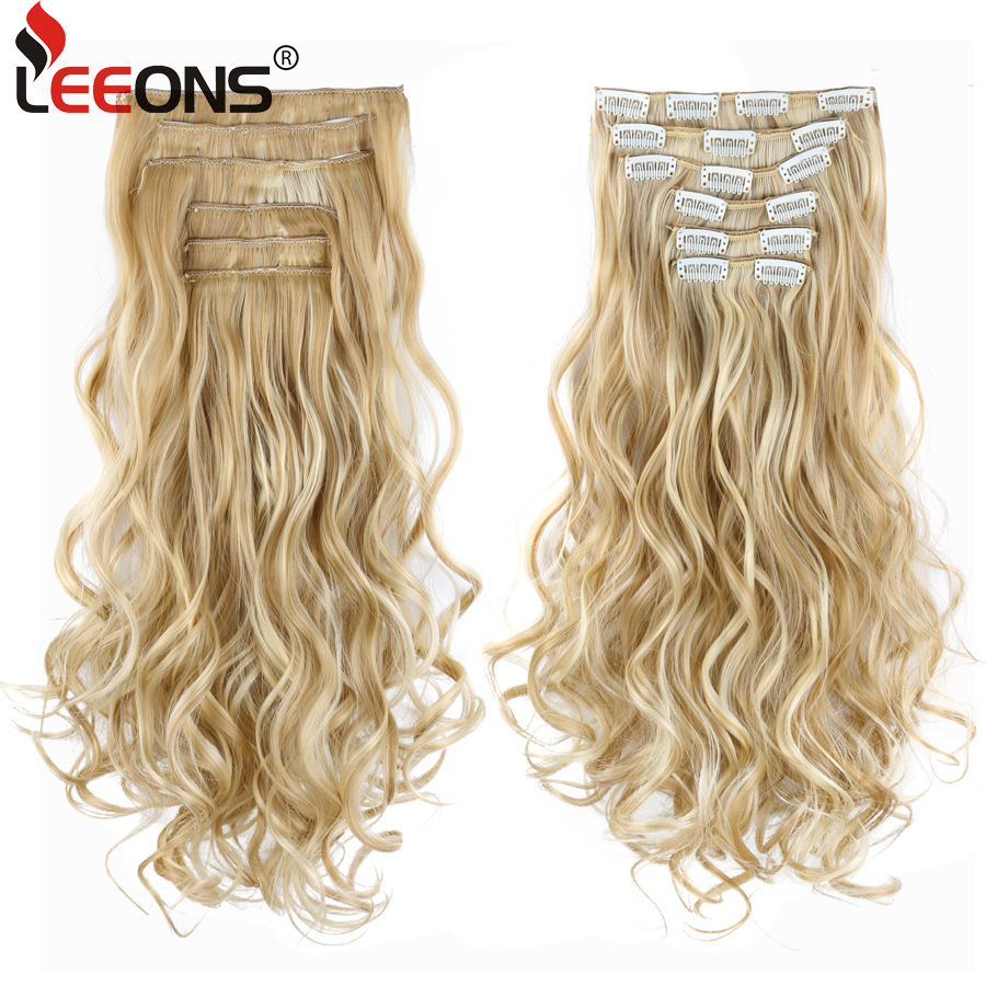 Leeons 22 Inch High Temperature Fiber Curly Synthetic 16 Clips In Hair Extensions For Women Hairpieces Ombre Brown Hair pieces(China)