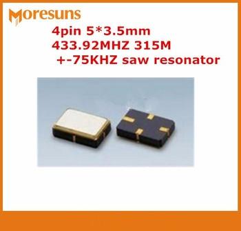 Free ship 100pcs/lot  New R433A SMD5035 4pin 5*3.5mm 433.92M 433.92MHZ 315M +-75KHZ saw resonator