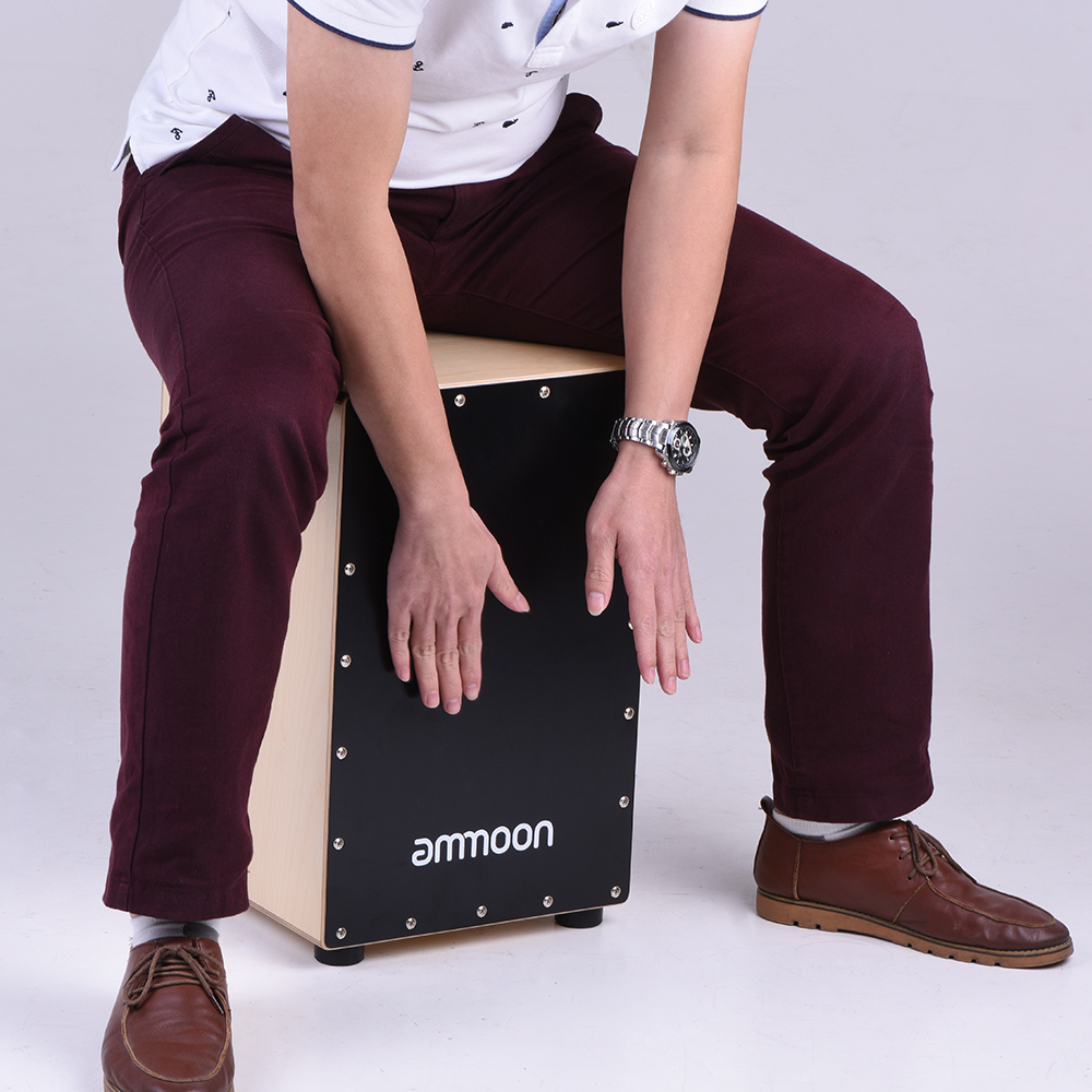 ammoon Wooden Cajon Box Drum Hand Drum Percussion Instrument Birch Wood with Adjustable Strings Carrying Bag for Adults-in Drum from Sports & Entertainment    1