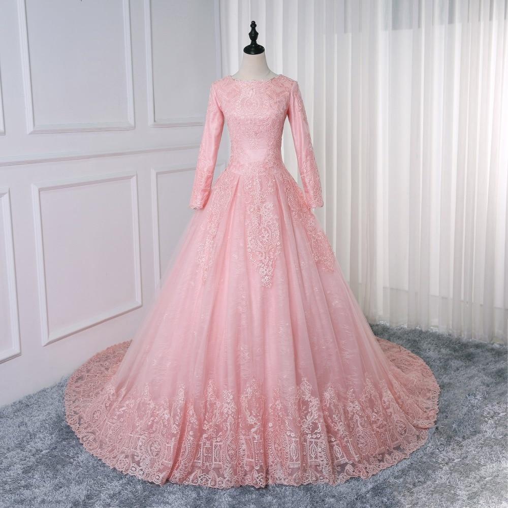 Vestidos De Noiva Bride Dress Pink Ball Gown Princess Lace Muslim Wedding Dress Long Sleeve Vintage Hijab Wedding Dress 2019