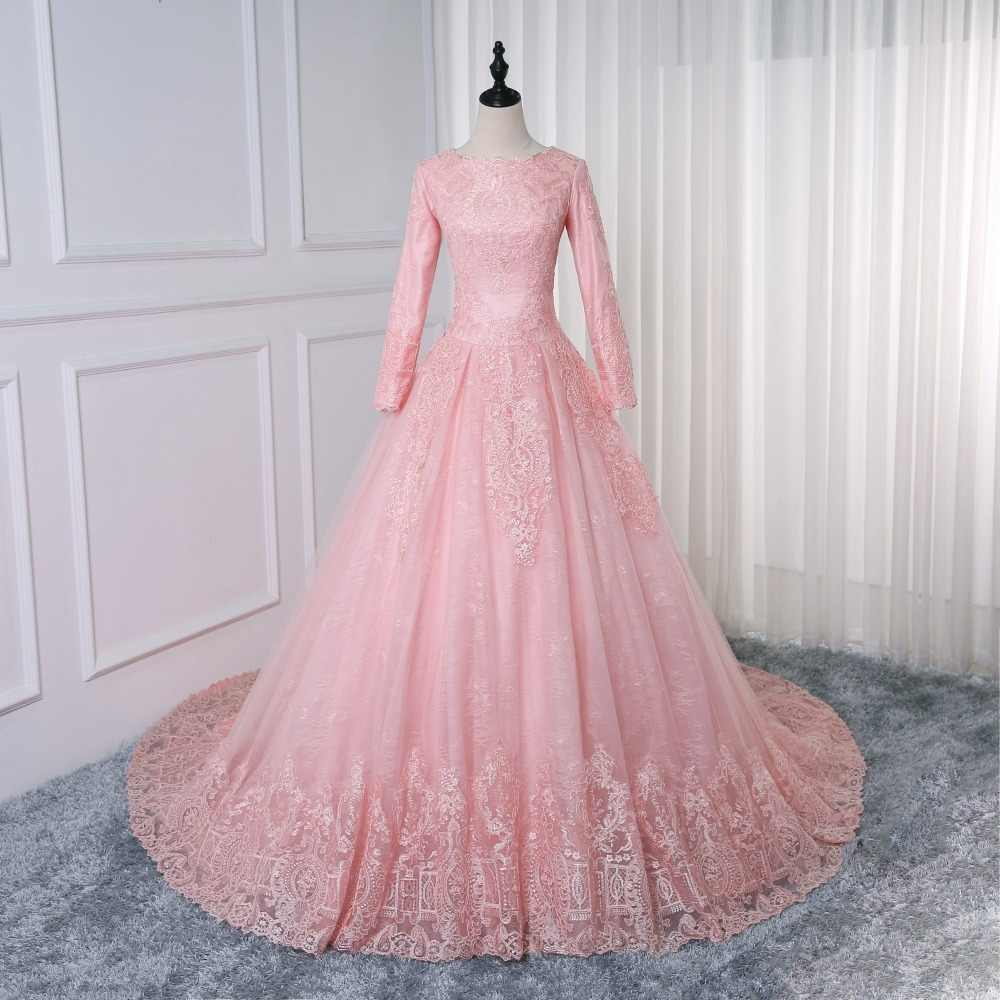 13be763fc9e Vestidos De Noiva Bride Dress Pink Ball Gown Princess Lace Muslim Wedding  Dress Long Sleeve Vintage