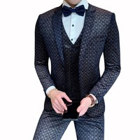 Costume Homme Mens Suits Plaid Print Suits Mens Business Social Ternos Wedding Smoking Mariage Homme Stylish Prom Jackets Club