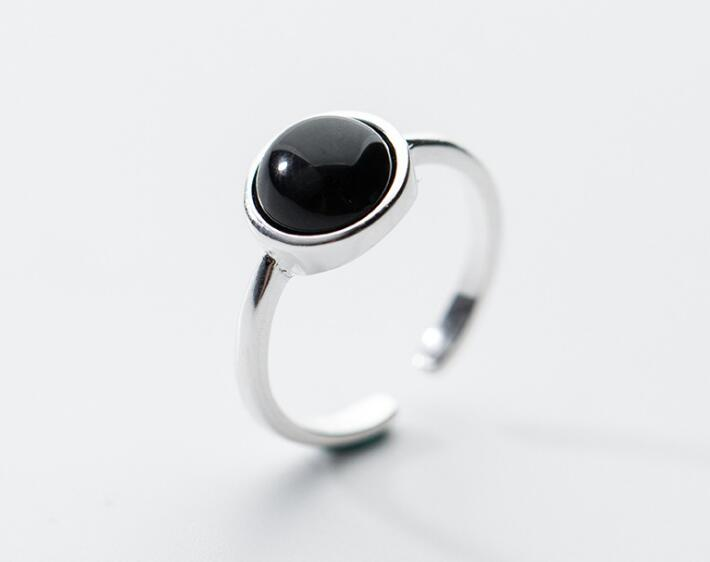 9MM Black Round Agate Ring 100% REAL.925 Sterling Silver FINE JEWELRY GTLJ1303