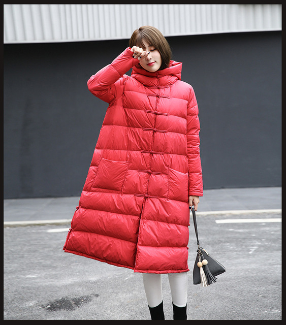64212179e3625 women chinese Ethnic National style vintage maxi long down coat parka  red black purple