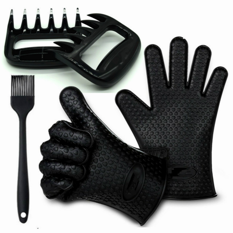 5pcs/lot Heat Resistant Bakeware Set Silicone Grill BBQ Gloves Meat Claws Basting Brush for Cooking Grilling Baking Barbecue