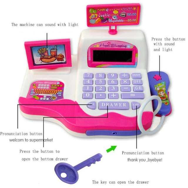 Placeholder Kids Simulation Supermarket Cash Register Electronic Toys With Foods Basket Money Music Light Children Learning Pretend