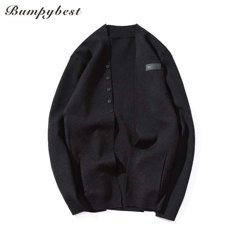 Bumpybeast 2017 Hot Sale Medium-Long length Mens Drench Jacket Knitted Male Casual Pure autumn Solid color cardigan sweater 6XL