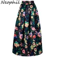 24d21c9aa7a4f7 Neophil 2019 Dames Bloemen Gedrukt Vintage Maxi Lange Rokken Floor Lengte Hoge  Taille Baljurk Geplooide Flare Longa Saias MS0512