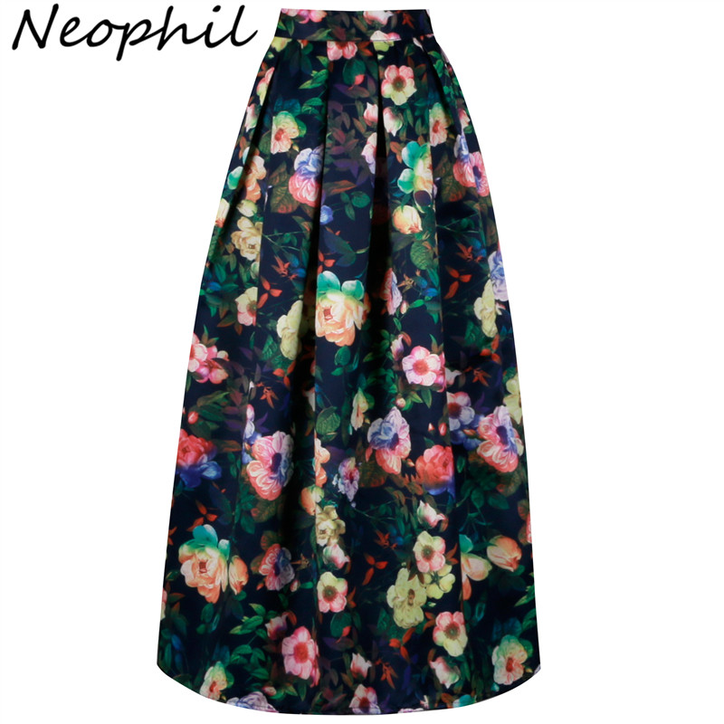 Neophil 2019 Ladies Floral Printed Vintage Maxi Long Skirts Floor Length High Waist Ball Gown Pleated Flare Longa Saias MS0512