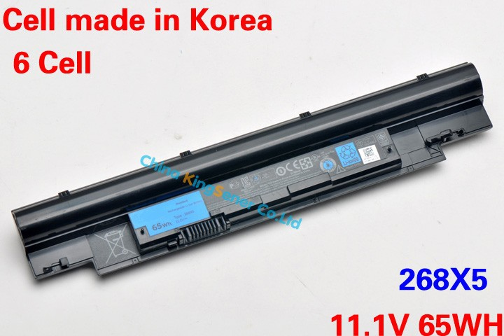 ФОТО 11.1V 65WH Korea Cell Genuine New Laptop Battery 268X5 For DELL Vostro V131 V131D Inspiron N311z N411z 268X5 JD41Y H2XW1 N2DN5
