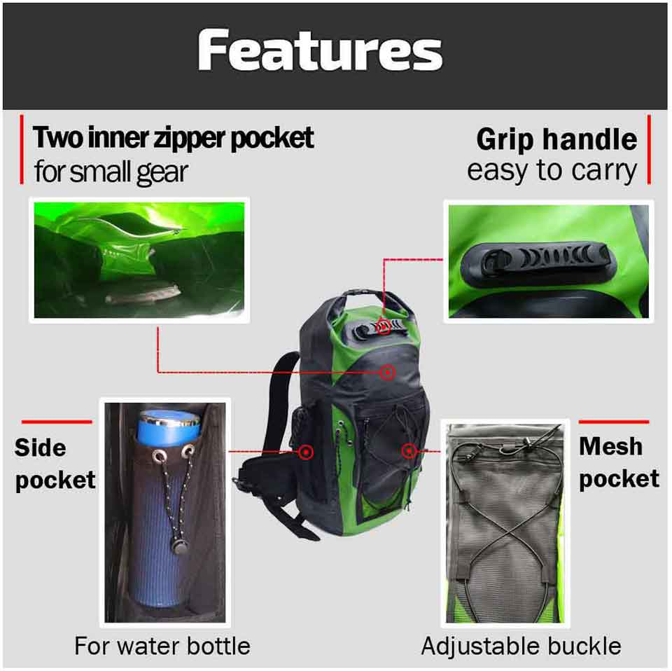 Sac à dos étanche 30L sac de natation sac à bandoulière réglable sac à bandoulière flottant pour la voile - 5