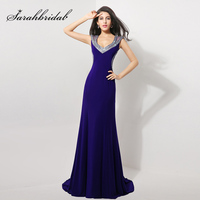 Elegant Royal Blue Evening Dresses Mermaid Open Back Sheer Neck Prom Gown Luxury Crystal Vestidos De