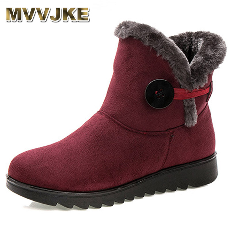 MVVJKE Winter Women Boots Flock Warm Ankle Snow Boots 2018 Platform Mother Shoes Woman Slip On Flats Button Creepers ms noki fur women winter metal star platform female slip on ankle boots warm snow boots ladies flock shoes woman botas size hot
