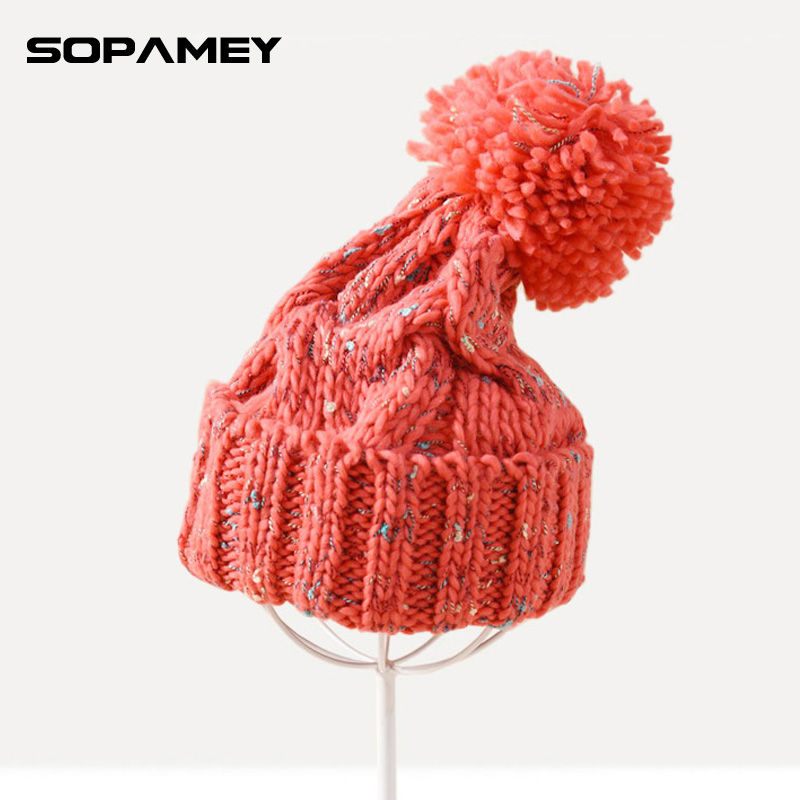 Winter Beanies For Women Knitted Acrylic Hats Mix Colors Skullies And Beanies Knit Big Pompom Caps Free Shipping Female Beanie 2016 new beautiful colorful ball warm winter beanies women caps casual sweet knitted hats for women outdoor travel free shipping