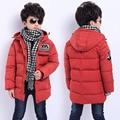 2016 Crianças de Inverno Meninos Para Baixo Casaco Jaqueta Moda Outwear Casaco Crianças Roupas de Inverno Grossa Com Capuz Quente Sólida Meninos Parka