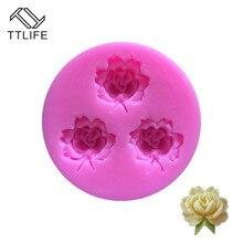 TTLIFE 3 Holes Rose Flower Silicone Molds Sugarcraft Fondant Cake Decorating DIY Tools Chocolate Gumpaste Kitchen Baking Moulds