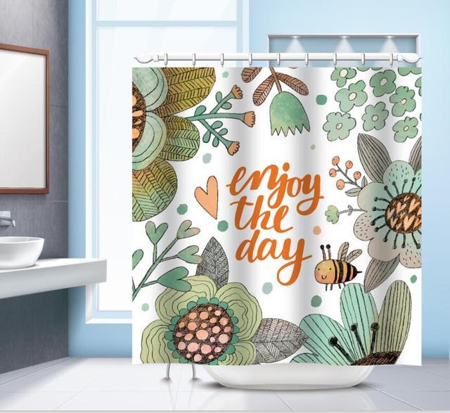 Plant Cartoon Rabbit Bathroom Curtains Bath Shower Modern Style Curtain Exquisite