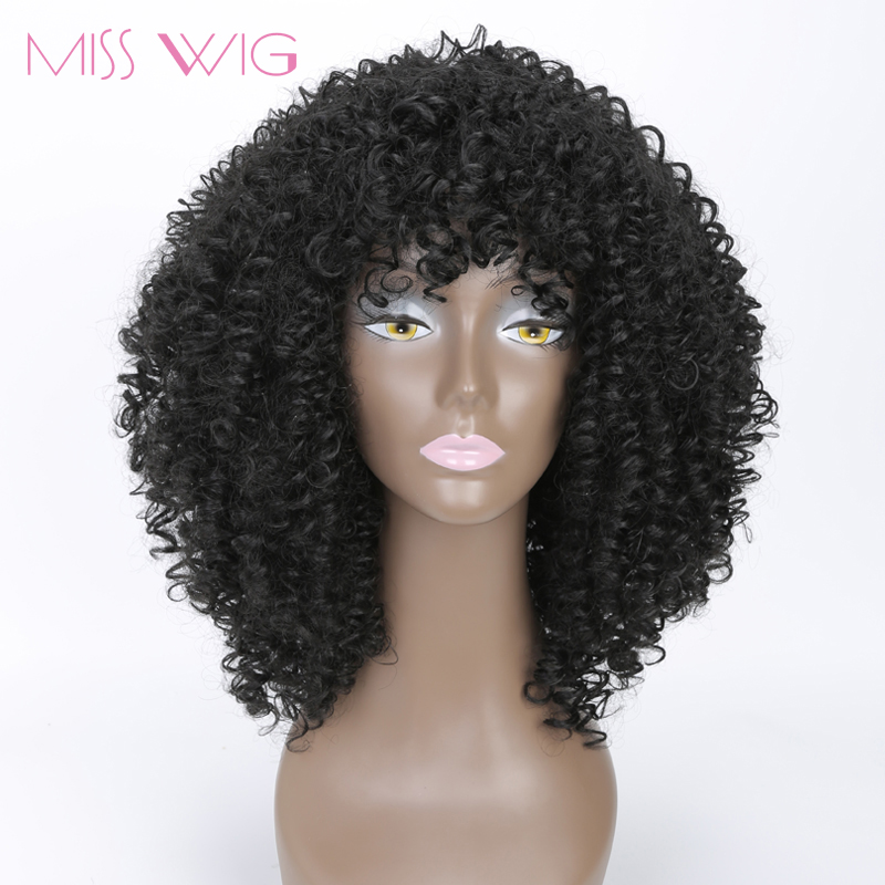 MISS WIG Long Kinky Curly Wigs Afro Wig Short Wigs For Black Women High Temperature Fiber Synthetic Hair Blcak Red Blonde Color
