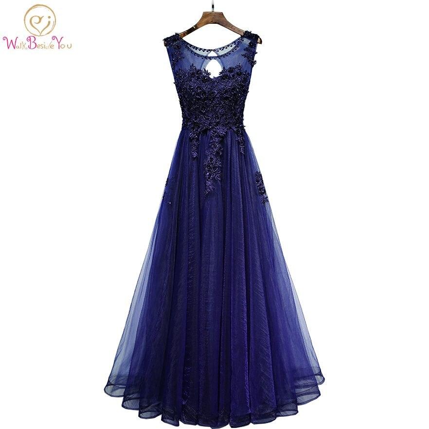 Walk Beside You Navy Blue Evening Dresses vestido de gala largo Lace Applique Beaded Floral Tulle