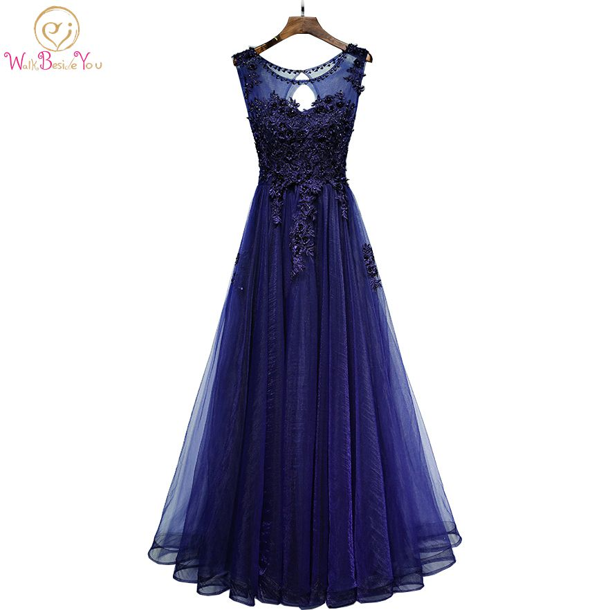 Walk Beside You Navy Blue   Evening     Dresses   vestido de gala largo Lace Applique Beaded Floral Tulle Prom Gowns robe longue soiree