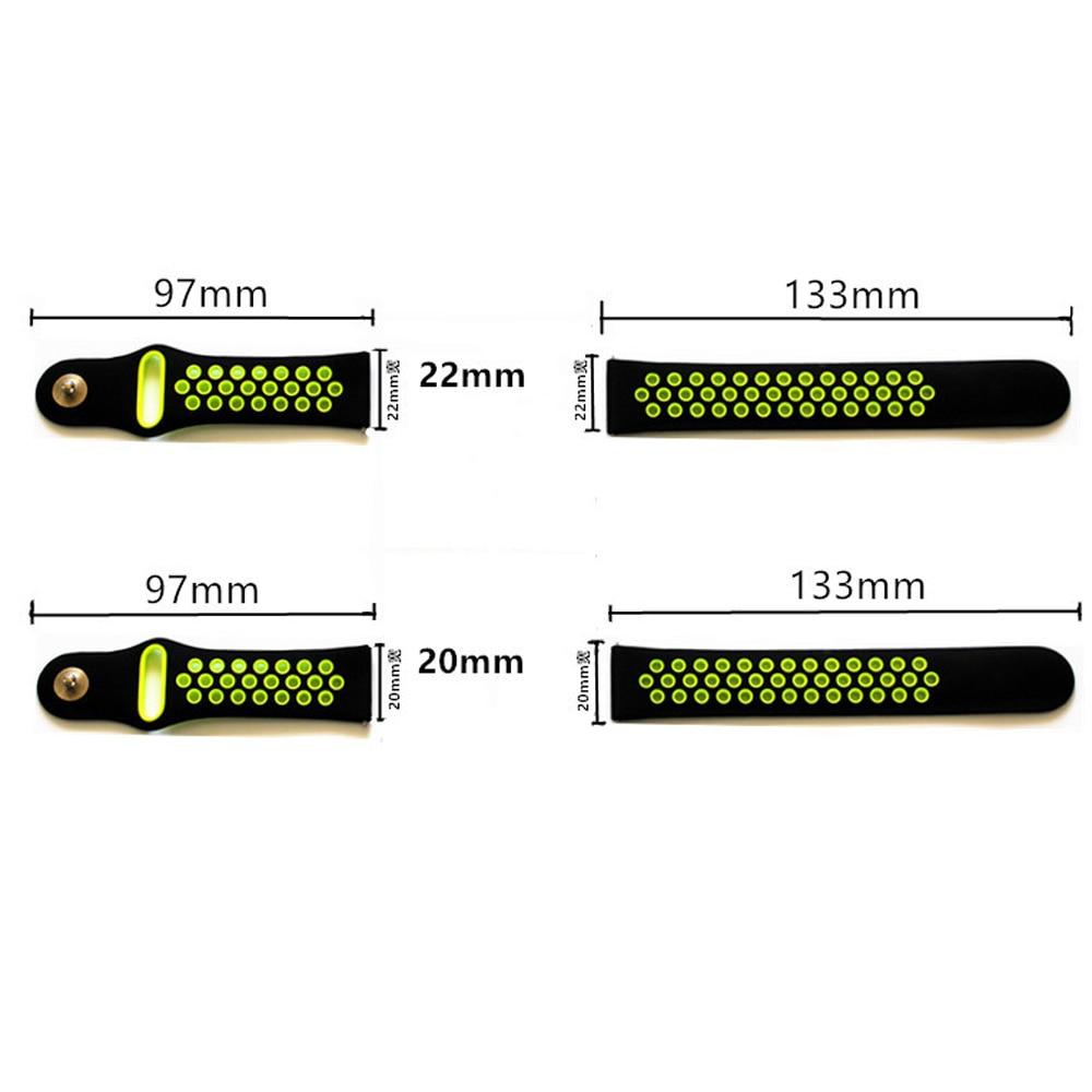 20mm 22mm silikon Strap Für Samsung Getriebe sport S2 S3 Klassische Frontier uhr Band huami amazfit tempo Bip BIT Lite Huawei Uhr 2