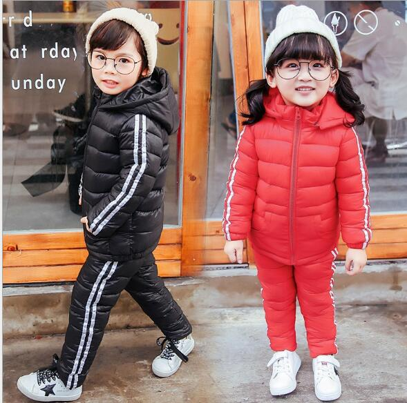 2017 Children boys girls winter warm down jacket suit set thick coat+jumpsuit baby clothes set kids jacket animal Horse fish new 2017 winter baby thickening collar warm jacket children s down jacket boys and girls short thick jacket for cold 30 degree