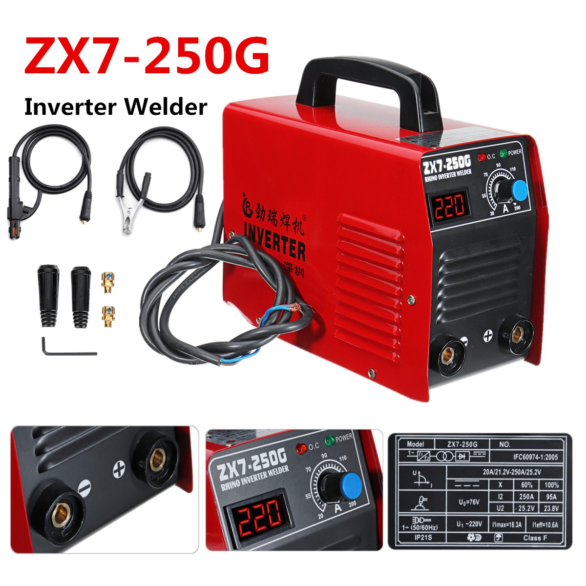 Portable ARC 250Amp Bâton Soudeurs DC Inverter MMA ZX7-250G Machine De Soudage IGBT Avec Machine ligne Ensemble