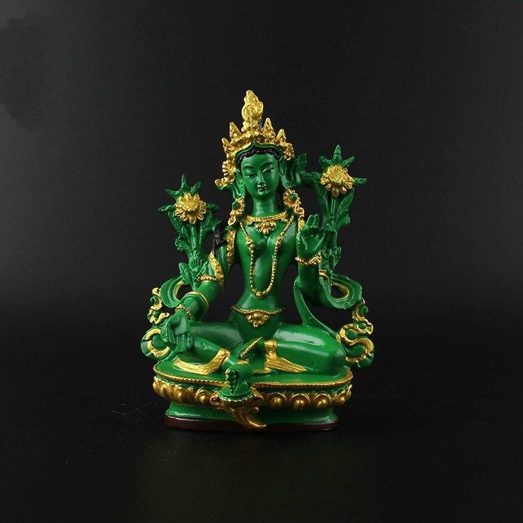 Buddyzm tybetański ręcznie malowanie posąg z żywicy dekoracji samochodu zielona Tara w Posągi i rzeźby od Dom i ogród na  Grupa 1