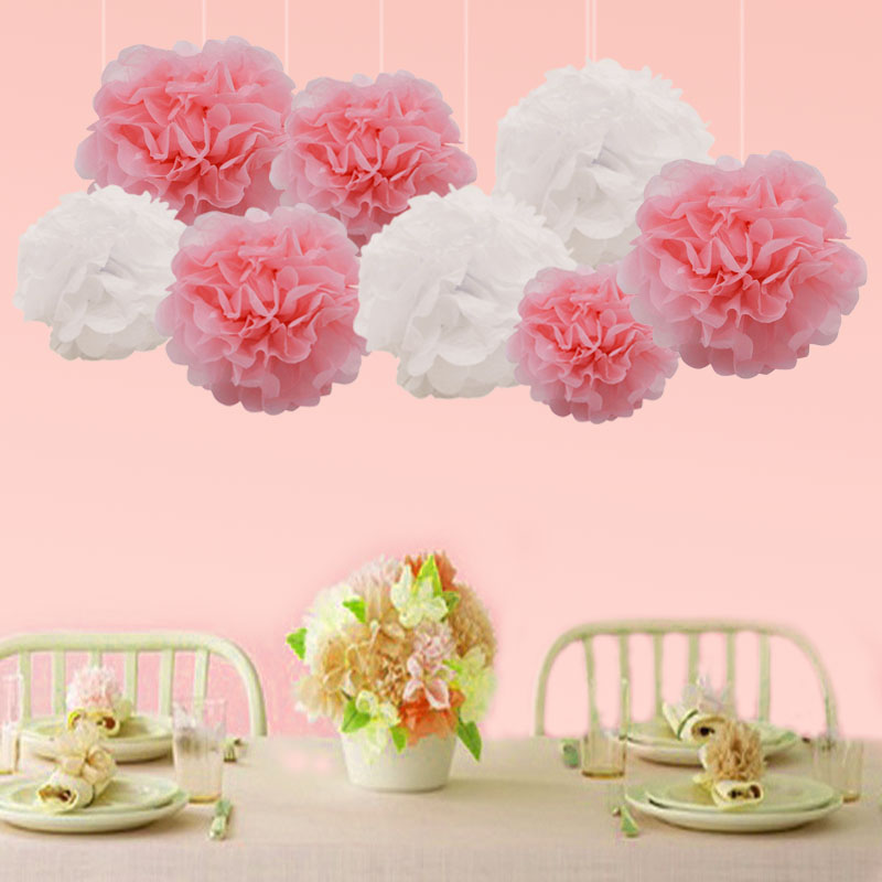 5 piece 10/15/20cm Pompon Tissue Paper Pom Poms Flower Balls for Wedding Party Car Decoration diy Craft Paper Flower Balls 75z
