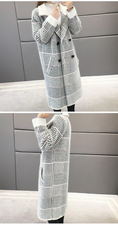 Gray Qualité Automne Chandail Hiver blue De khaki Imitation Cardigans 810 Vison Femmes Manteau Haute Treillis Cardigan Cachemire 6qdwRdx