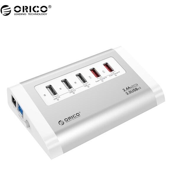 ORICO UH3C2-SV Novo design Com Carregador de 5 Portas USB 3.0 HUB Para O Telefone Móvel/Tablet-Prata