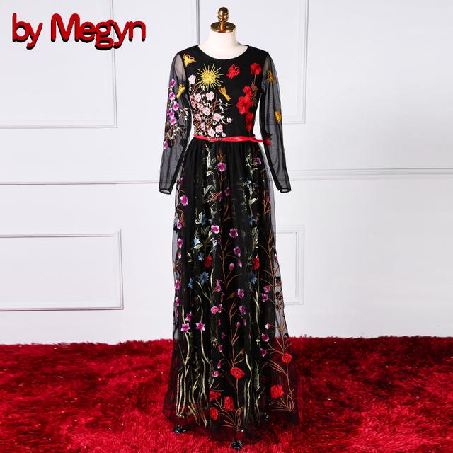 43aa2656f91 runway dresses women maxi dress ladies mesh floral embroidered elegant  party black long vestidos