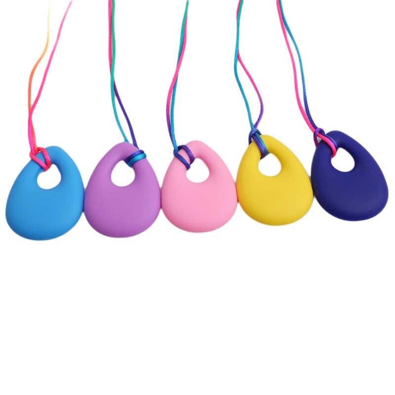 Silicone Baby Bijtring Peuter Kids Drop Ring Tandjes Zwart Chian Ketting Hangers Pasgeboren Molars Tand Chewable Tandjes Speelgoed