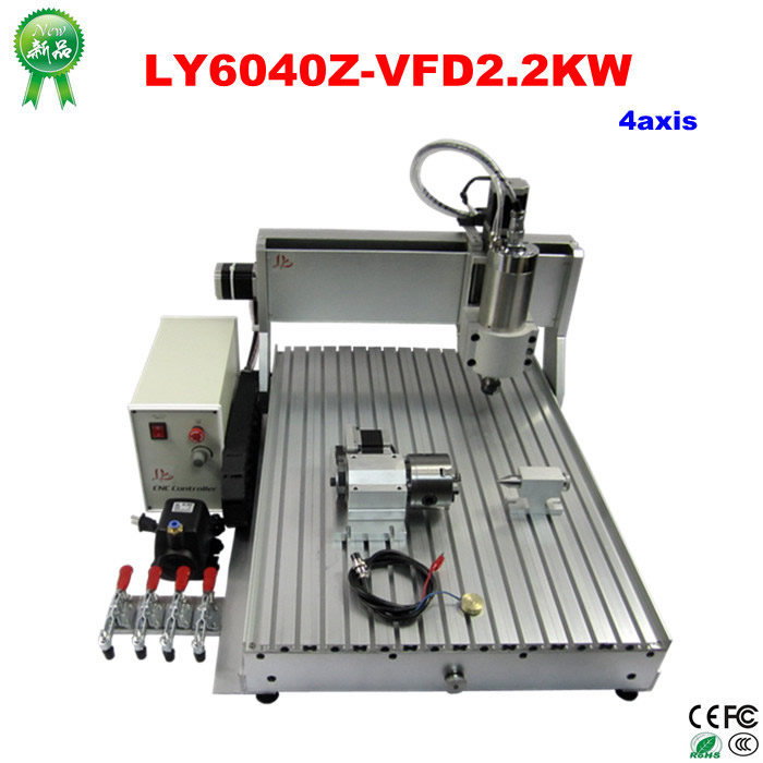 2.2KW USB CNC 6040 Universal Woodworking Machine stone aluminum Bronze 4 AXIS cnc router lathe