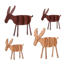 2019 1pcs Combination Stitching Wooden Elk Deer Christmas Ornaments for Home Decor 2 Sizes Pendant Tree Decorations