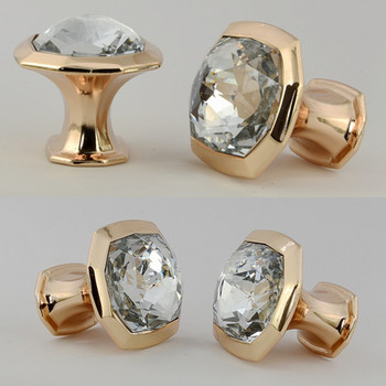 Modern fashion deluxe rose golden wine cabinet kitchen cabinet door handles clear glass crystal drawer tv cabinet knob pull 16mm