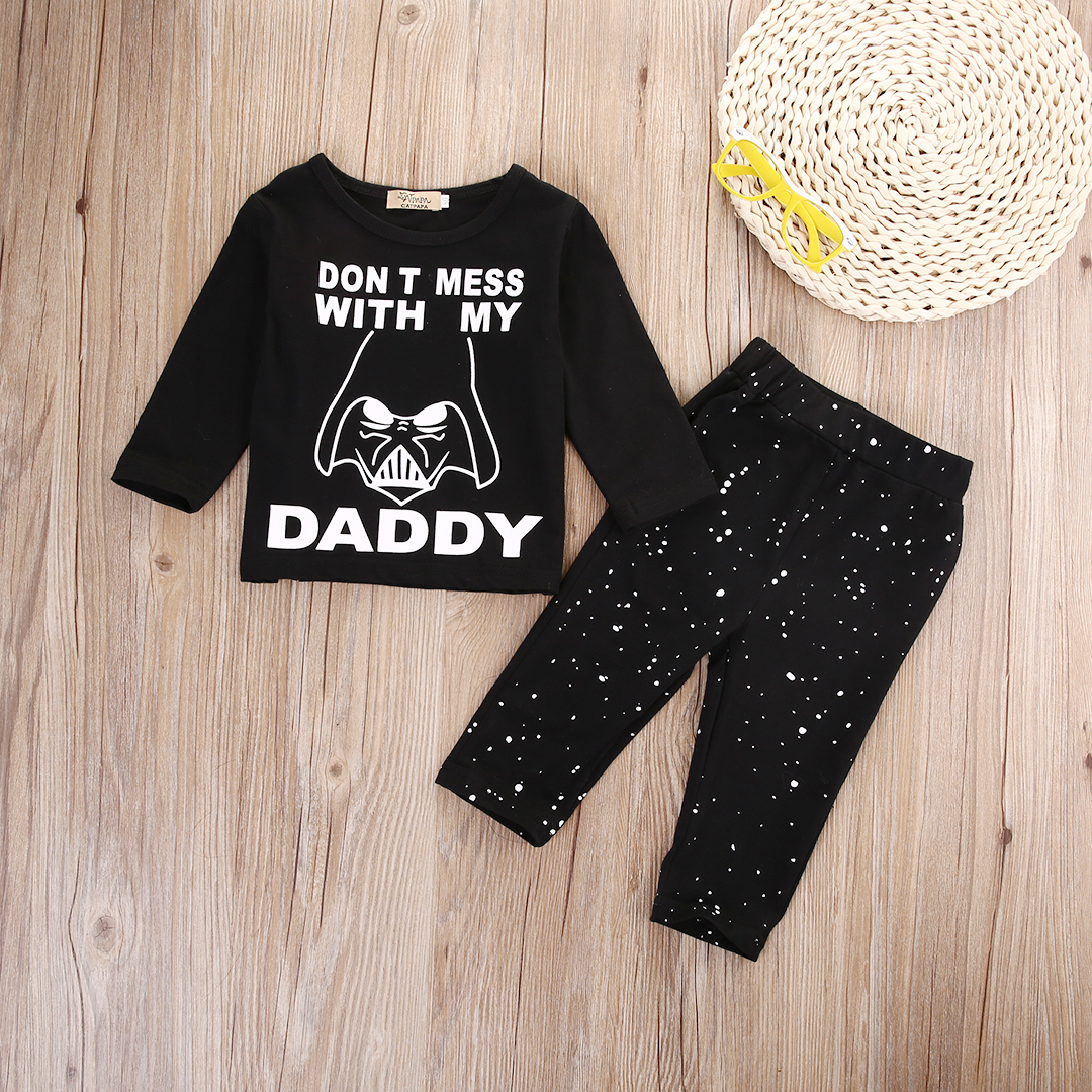 Newborn Baby Boy Girl Clothes Star Wars Long Sleeve Cotton Tops T-shirt+Long Pants 2pcs Outfit Set Bebek Giyim cute cotton newborn baby boy superhero letter printed long sleeve t shirt cartoon pants leggings outfit autumn clothes set 0 2y