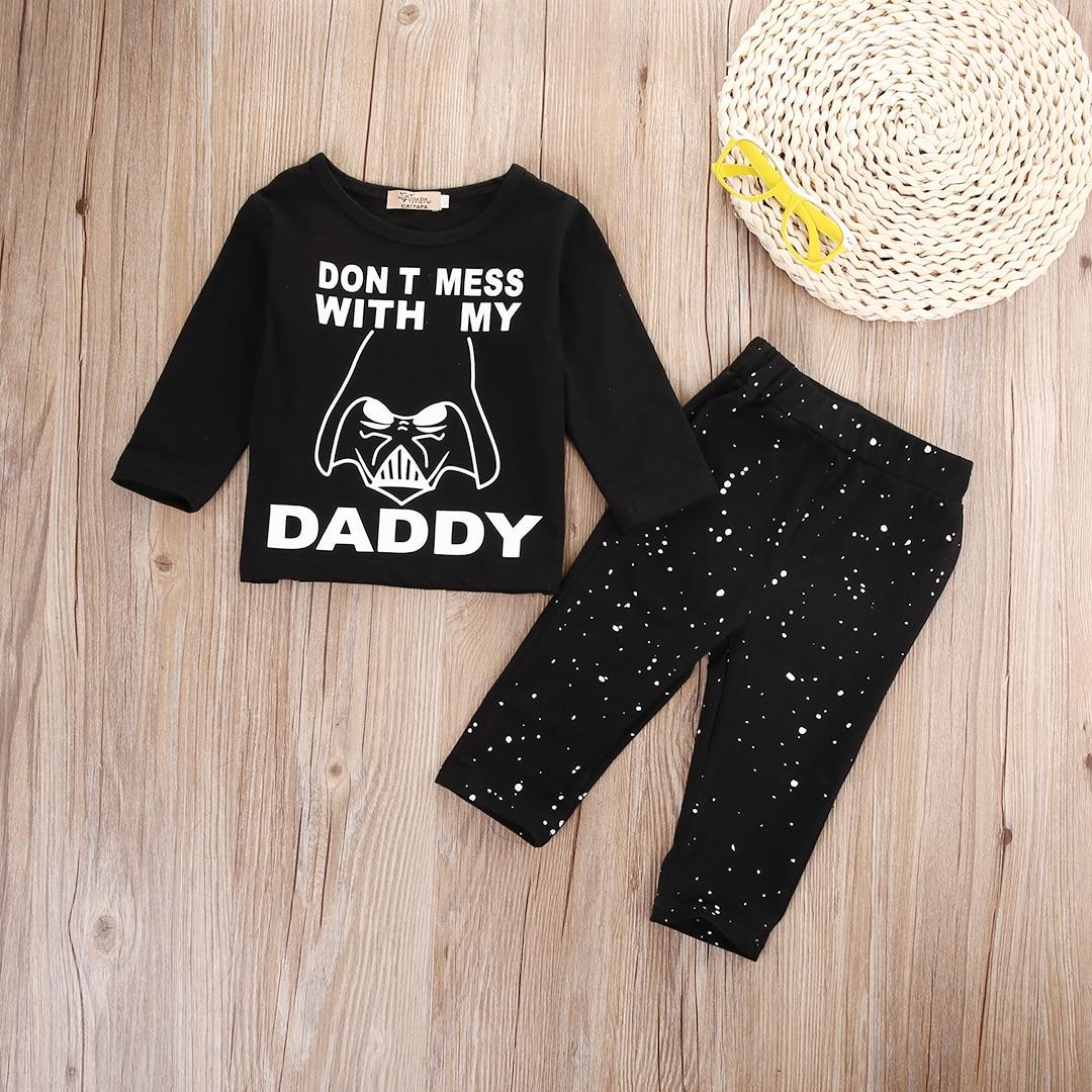 Newborn Baby Boy Girl Clothes Star Wars Long Sleeve Cotton Tops T-shirt+Long Pants 2pcs Outfit Set Bebek Giyim