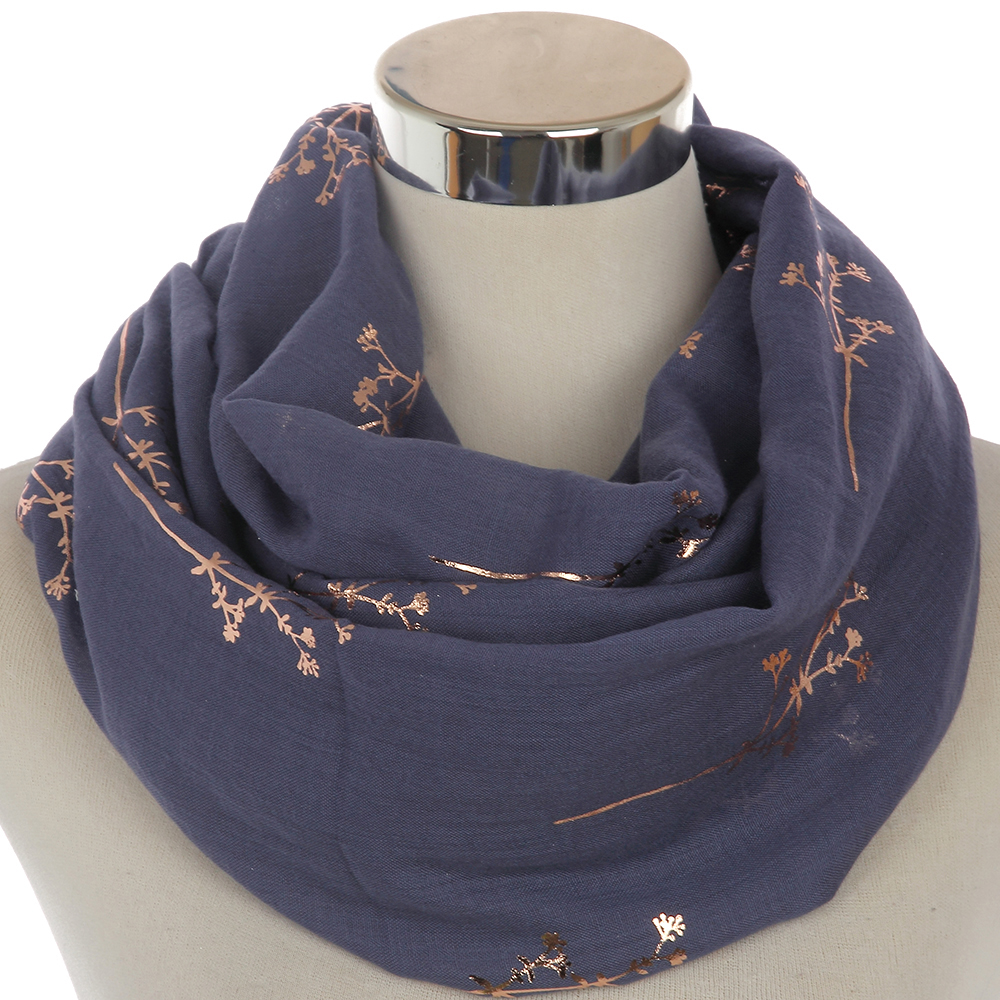 Winfox 2019 New Women Ring Snood Neck Scarf Black Grey Navy Metallic Gold Foil Glitter Floral Tree Branches Infinity Scarf