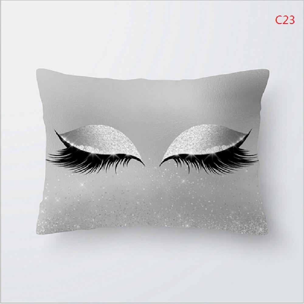 New Glitter Eyelash Pillow Case Lash Cushion Cover Car Sofa Office Home Decor