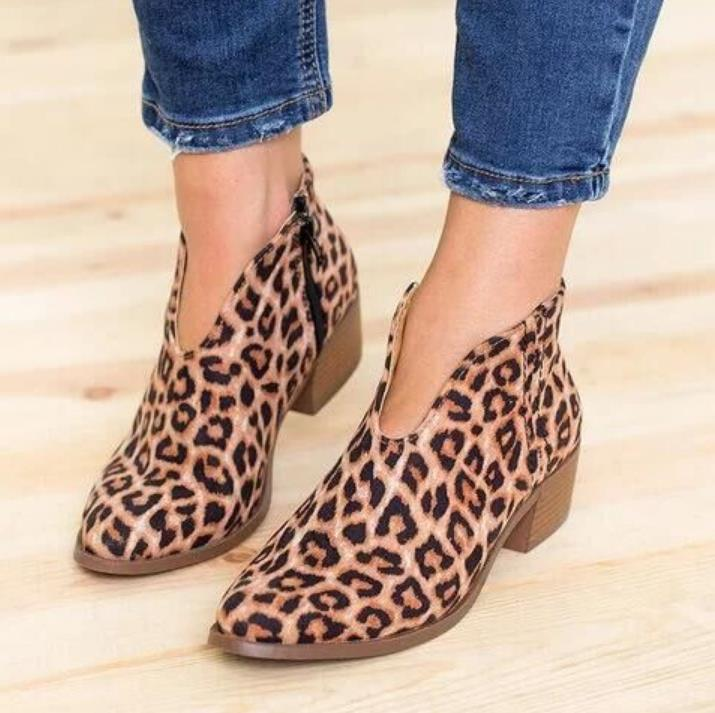 New Leopard print autumn and winter bare boots deep V sexy booties casual comfort large size zipper shoes womens bootsNew Leopard print autumn and winter bare boots deep V sexy booties casual comfort large size zipper shoes womens boots