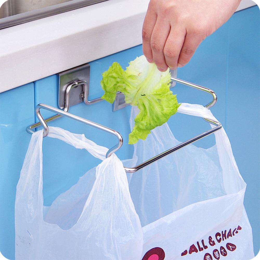 1Pc Stainless Steel Garbage Bag Holder Hanging Kitchen Cupboard ...